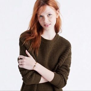 Madewell Stitchmix Pullover Sweater Dark Olive